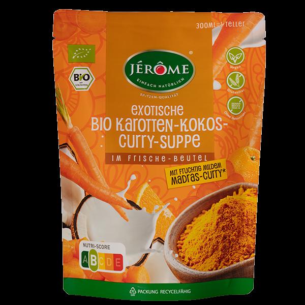 JÉRÔME exotische Bio-Karotten-Kokos-Curry-Suppe